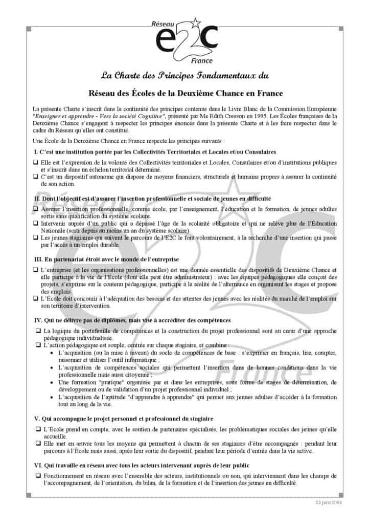 thumbnail of Charte du reseau E2C